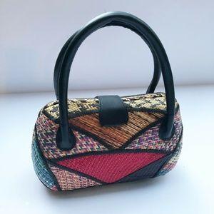 Vintage Woven Wicker Hardside Purse Boho Handbag